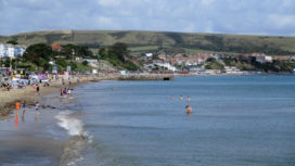 Swanage beach in summer