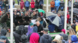 Cutting the ribbon at the opening ceremony of the Swanage Bandstand