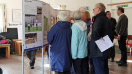 People looking at the football redevelopment plans