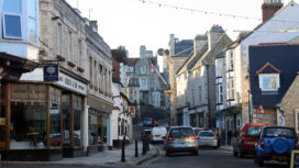 View along the High Street with Purbeck House Hotel in the distance