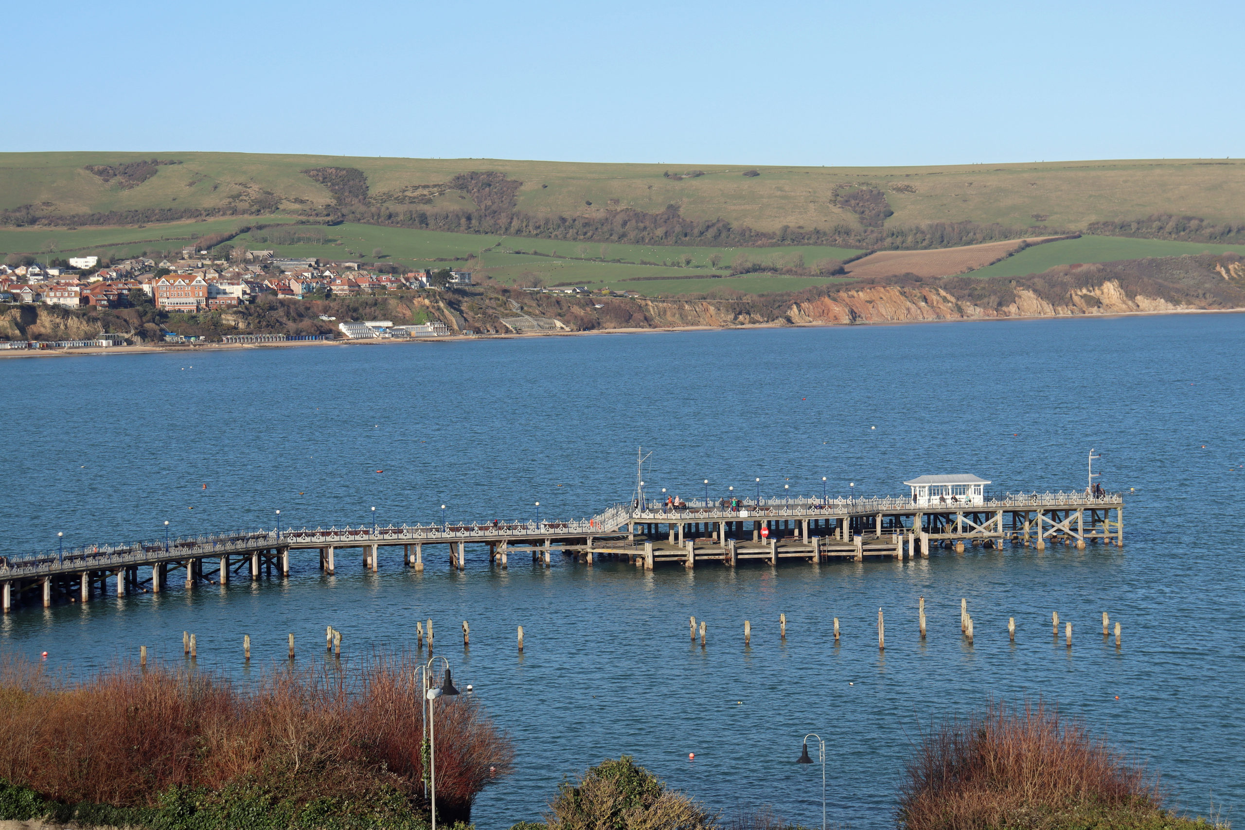 View of Swanage Pier from the Downs