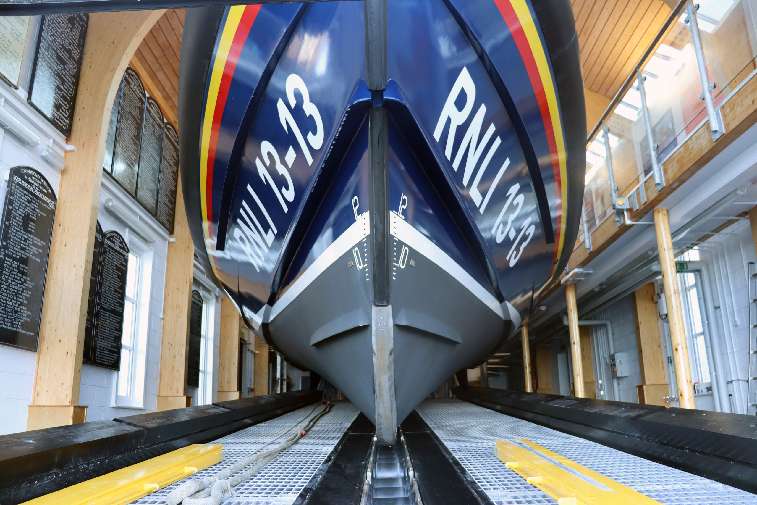 The bow of the Swanage Shannon class lifeboat 13-13