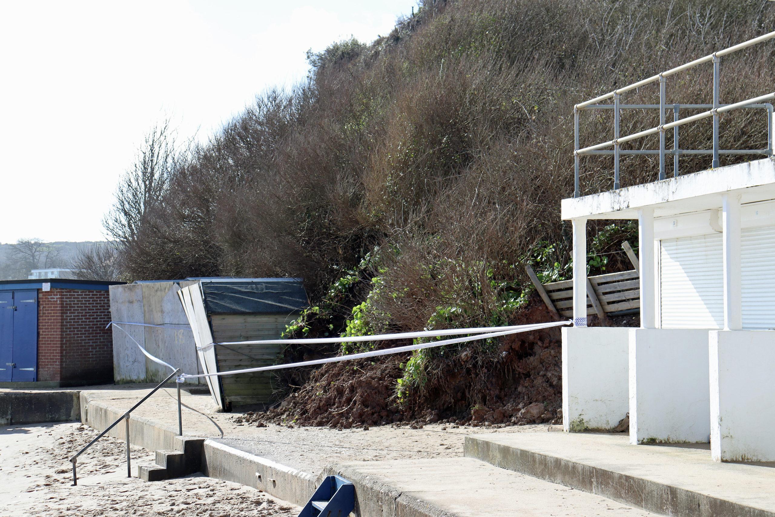 Beach huts damaged by landslip