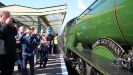 Flying Scotsman at Swanage Railway platform