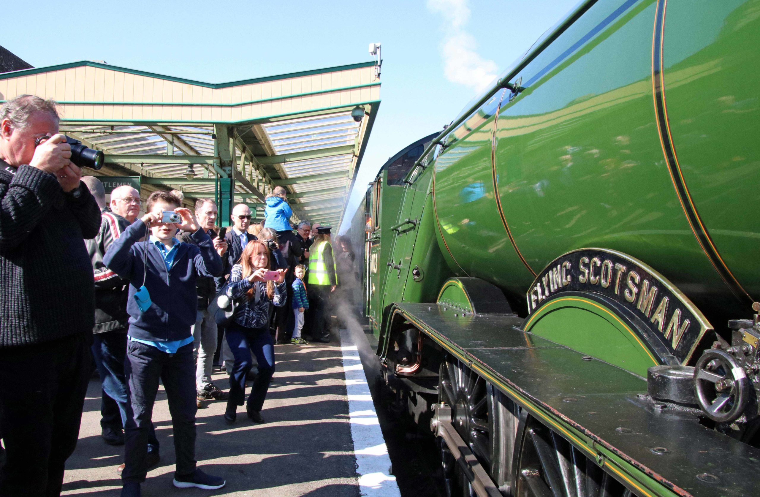 Flying Scotsman at Swanage Railway platform
