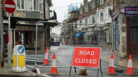 Institute Road closed sign