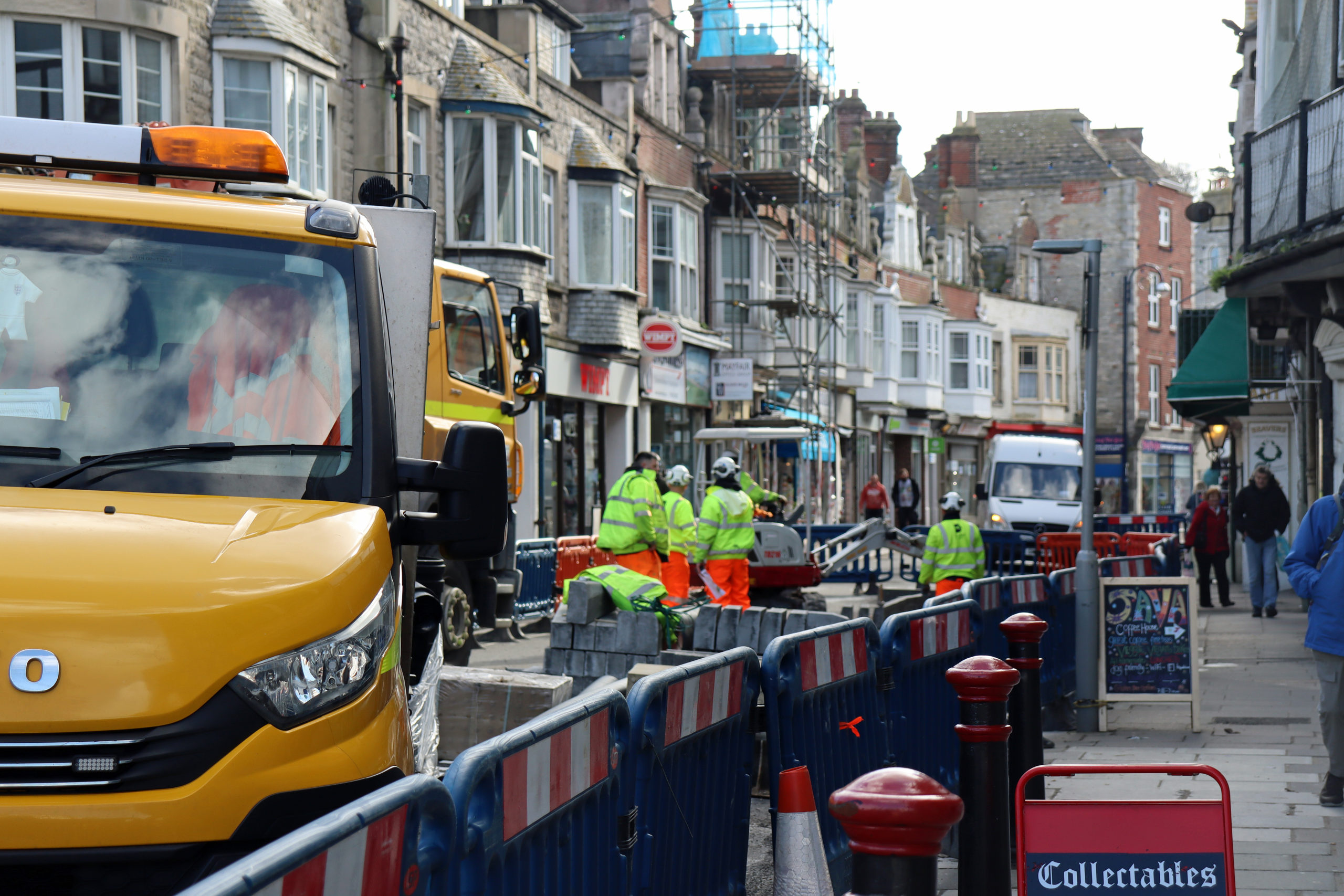 Workmen in Institute Road while it is closed for roadworks February 2020.