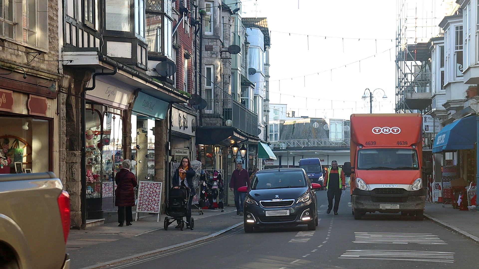 View down Institute Road with lorry in loading bay