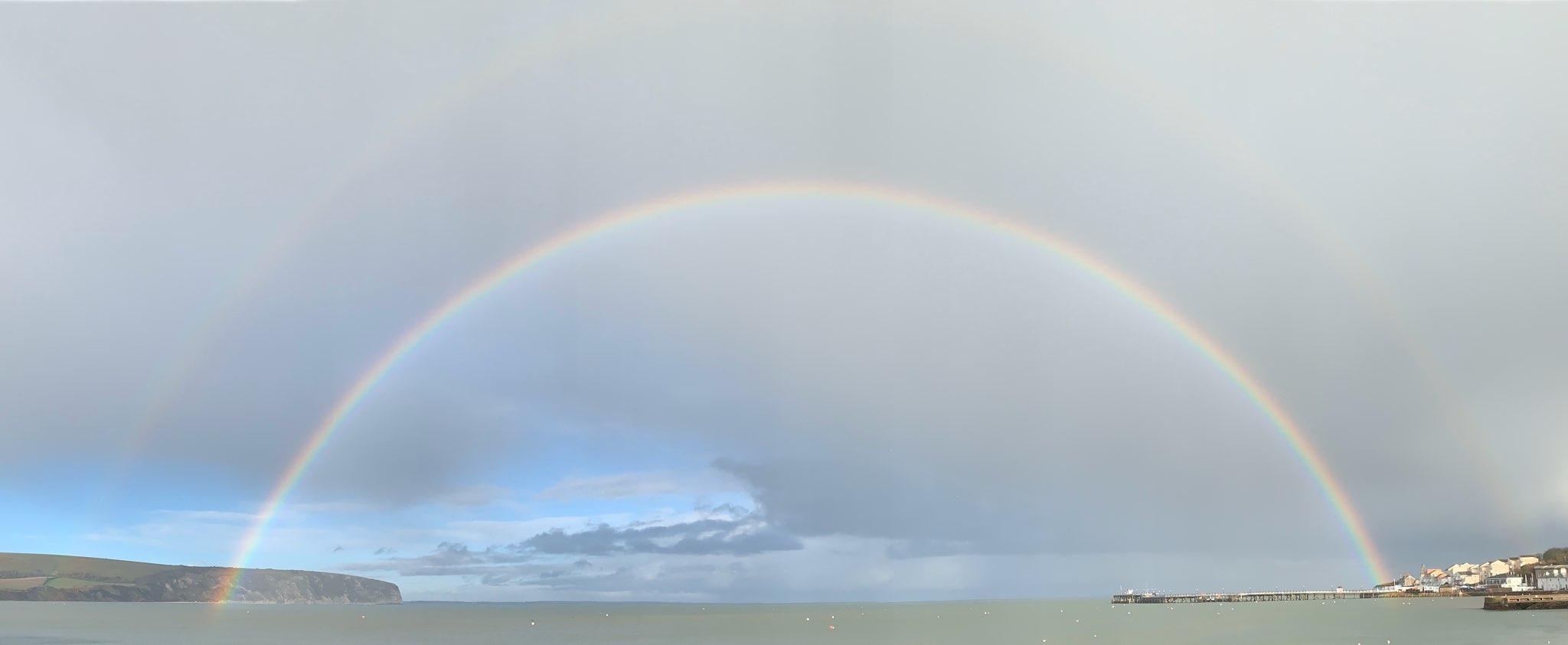 Full rainbow over Swanage Bay.