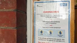 Coronavirus notice on a door