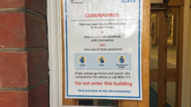 Notice about coronavirus at Swanage Community Hospital