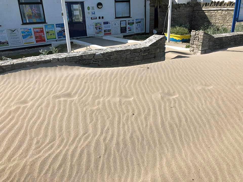 Sand outside Information Centre