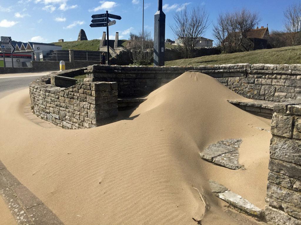 Sand blown off the beach