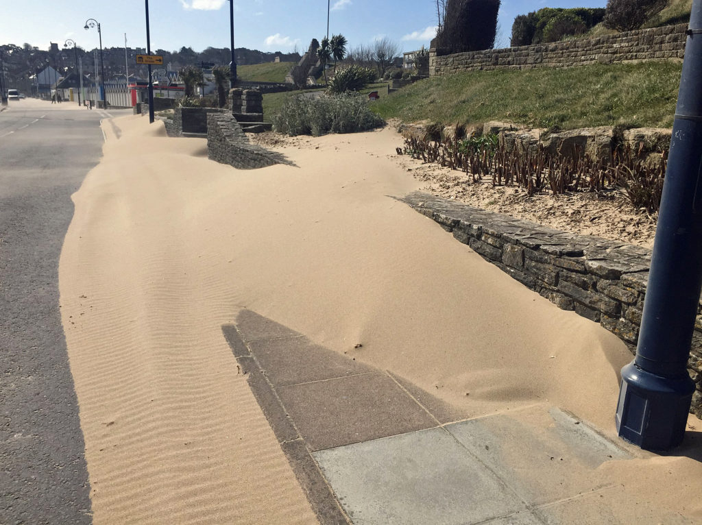 Sand on Shore Road by Sandpit Field
