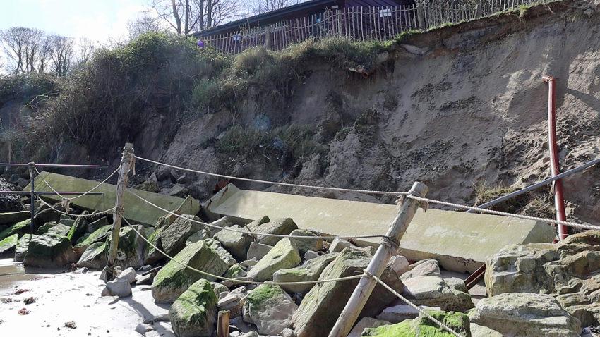 Debris on Middle Beach after landslip