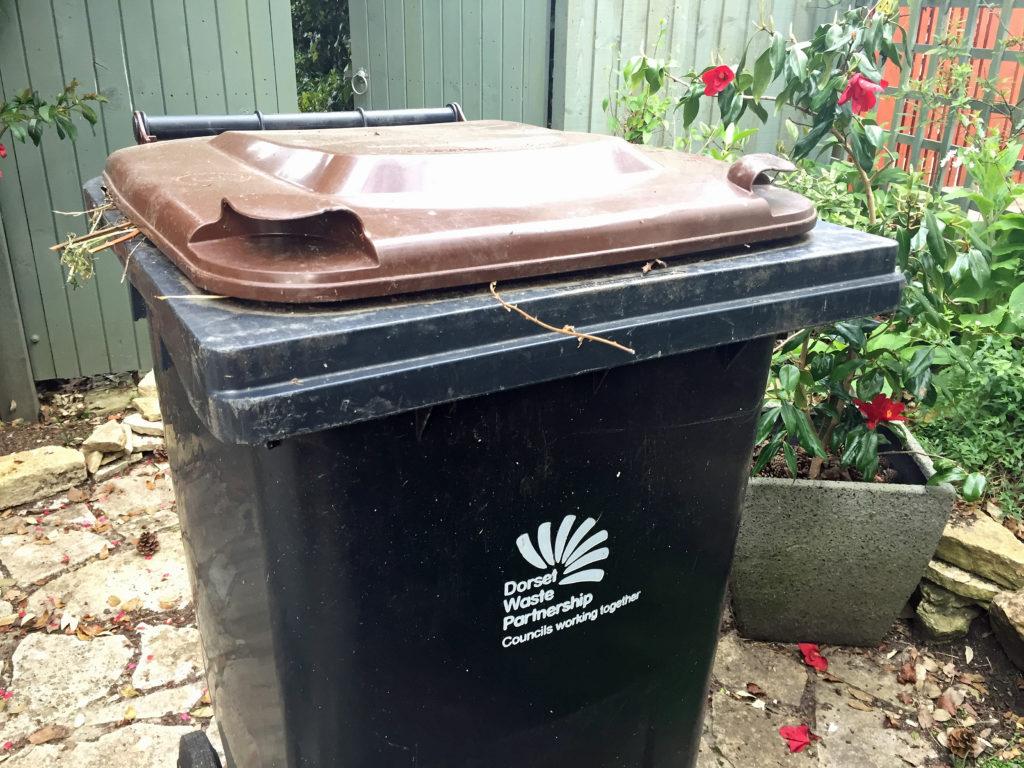 Brown lid garden waste bin