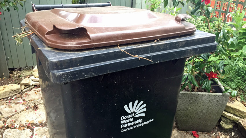 Brown lid garden waste bin