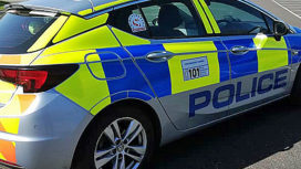 Police car close up in Swanage