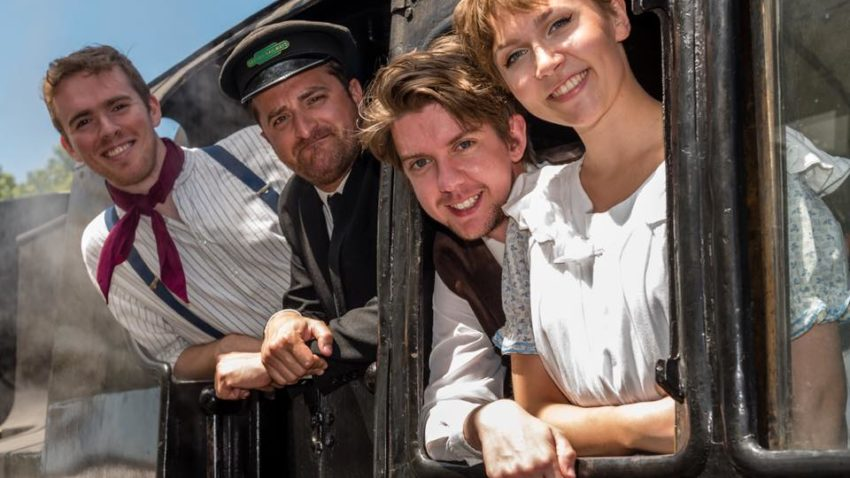 Cast members of Swanage Rep on a steam train