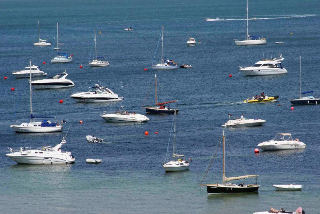 Boats moored at Studland