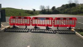 Barriers close off car park