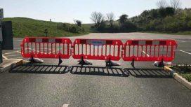Barriers close off car park