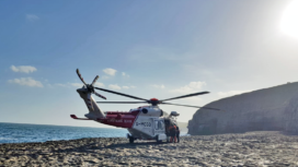 Coastguard helicopter at Dancing Ledge