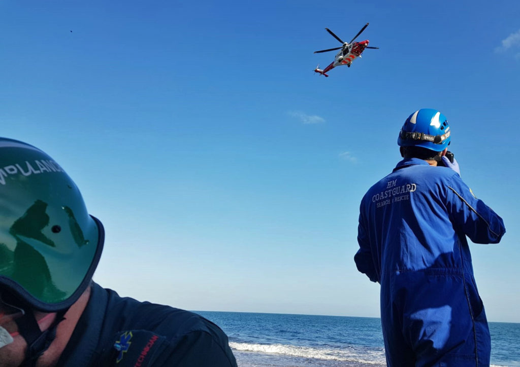 Swanage Coastguard at Dancing Ledge as rescue helicopter arrives