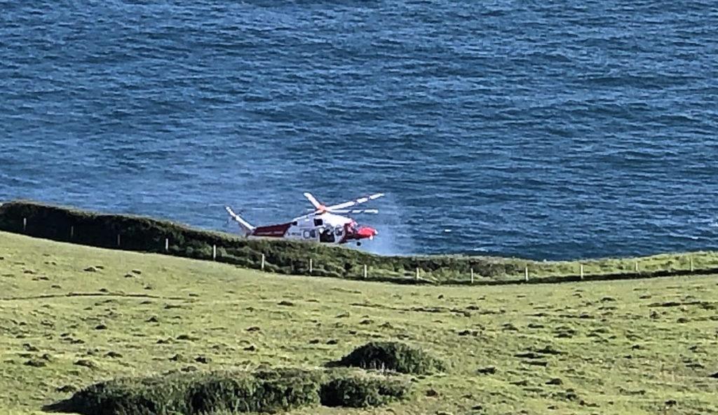 Coastguard helicopter at Dancing Ledge