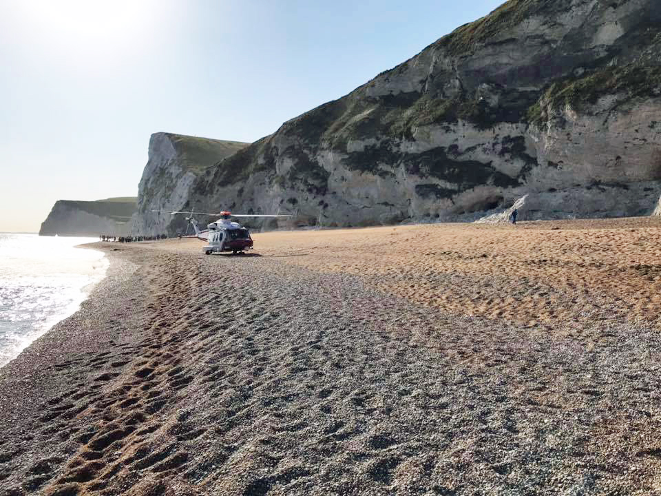 Helicopter at Durdle Door