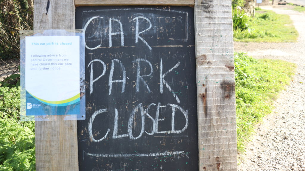 Durlston car park closed sign
