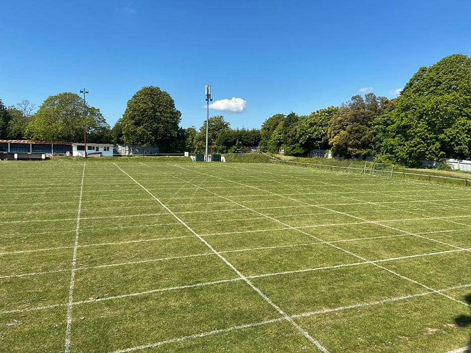 Football pitch is marked out for new drainage