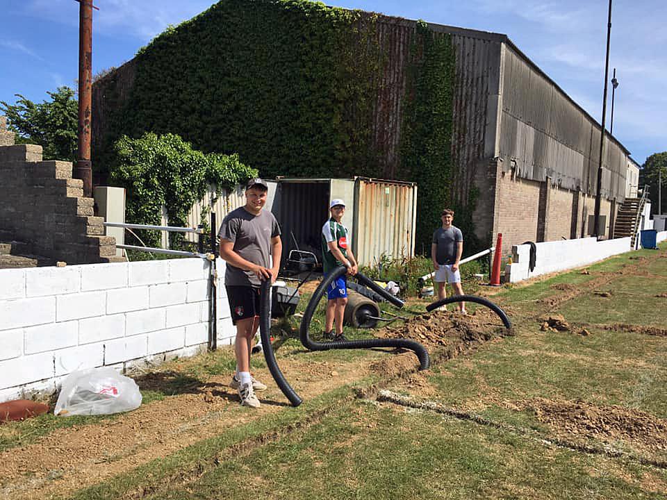 Football club drainage pipe is laid