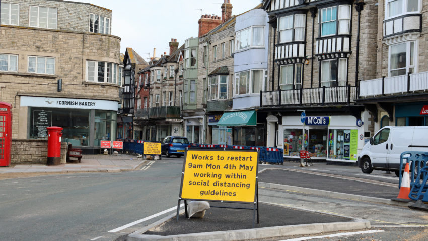Sign in Institute Road saying work to restart on 4th May