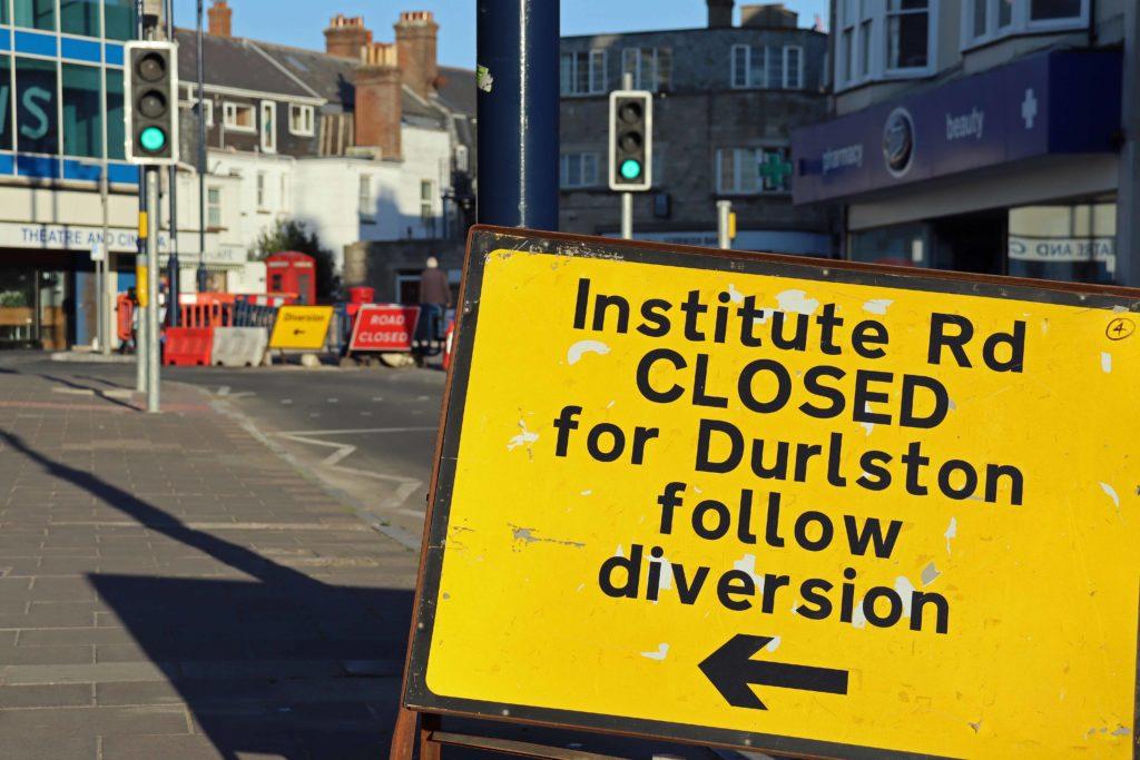 Institute Road closure sign