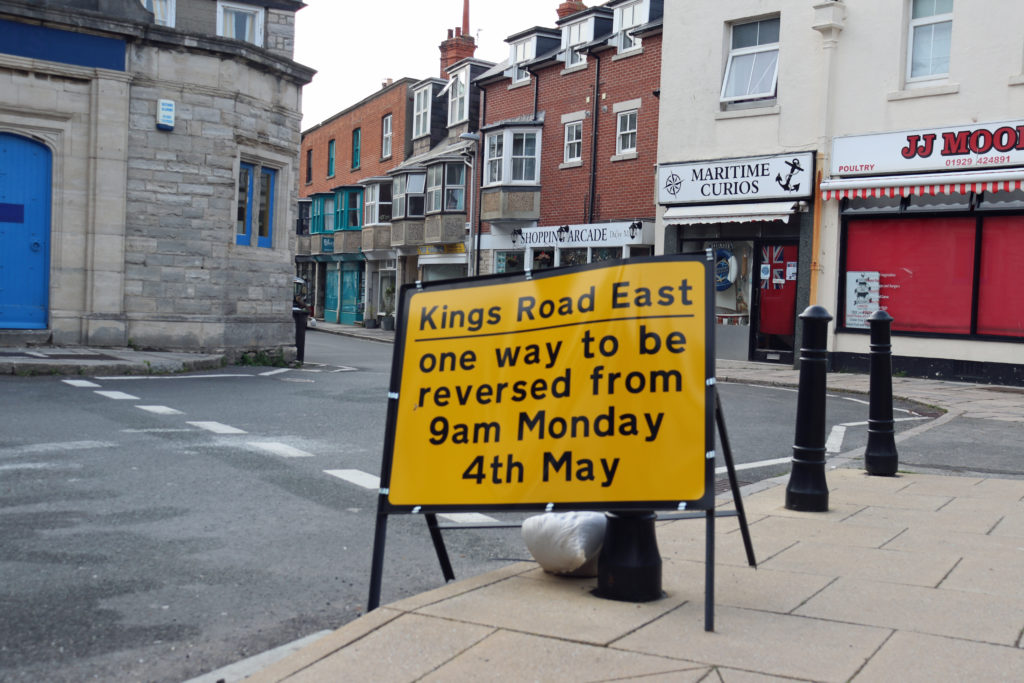 Roadworks sign at Kings Road East