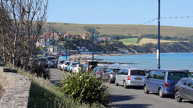Cars parked at Swanage seafront