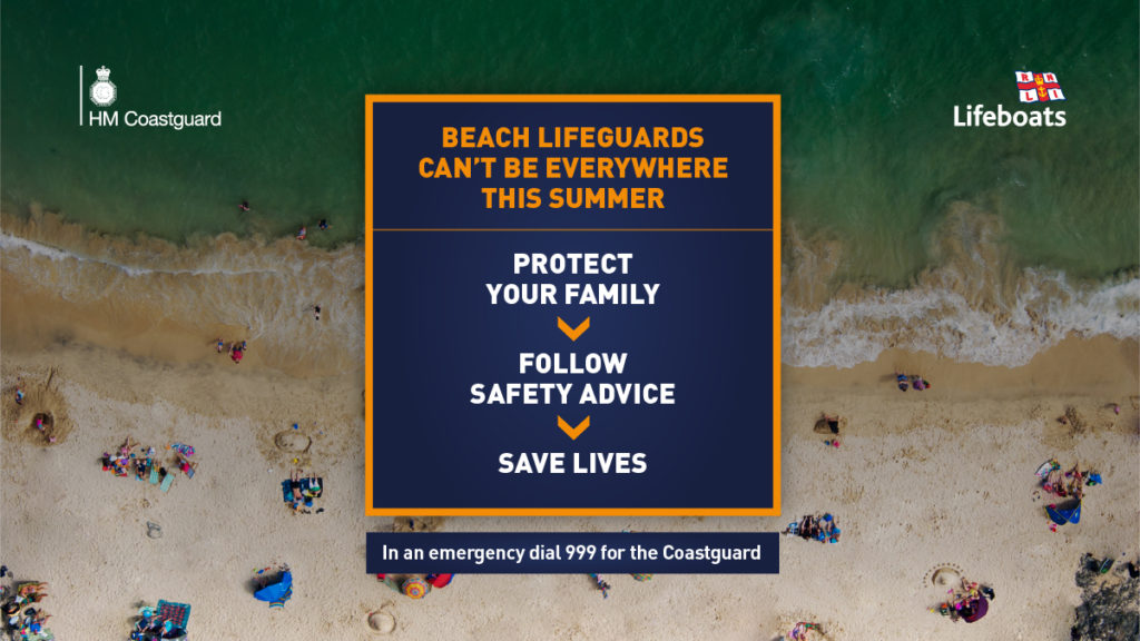 Rnli and hm coastguard beach safety campaign poster