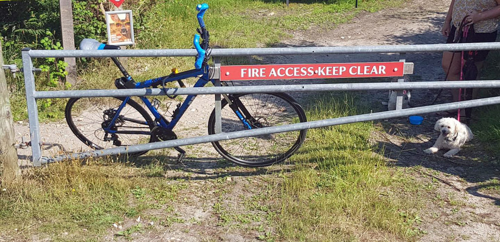 Bike chained to emergency exit in Studland