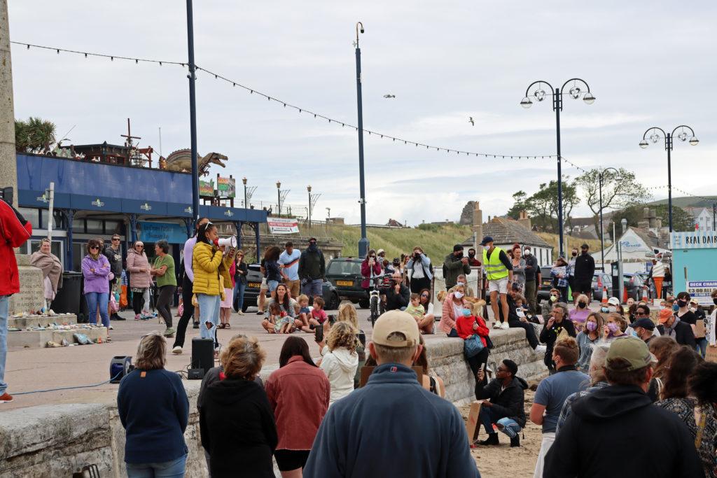 Black Lives Matter protestors on Swanage Beach