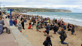Black Lives Matter protestors on Swanage Beach
