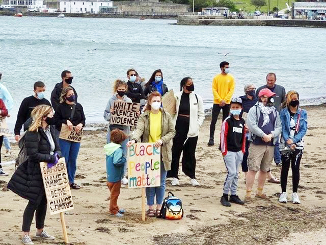 Black Lives Matter demonstration on Swanage Beach