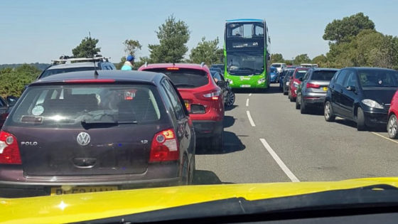 Cars parked in Ferry Road in Studland