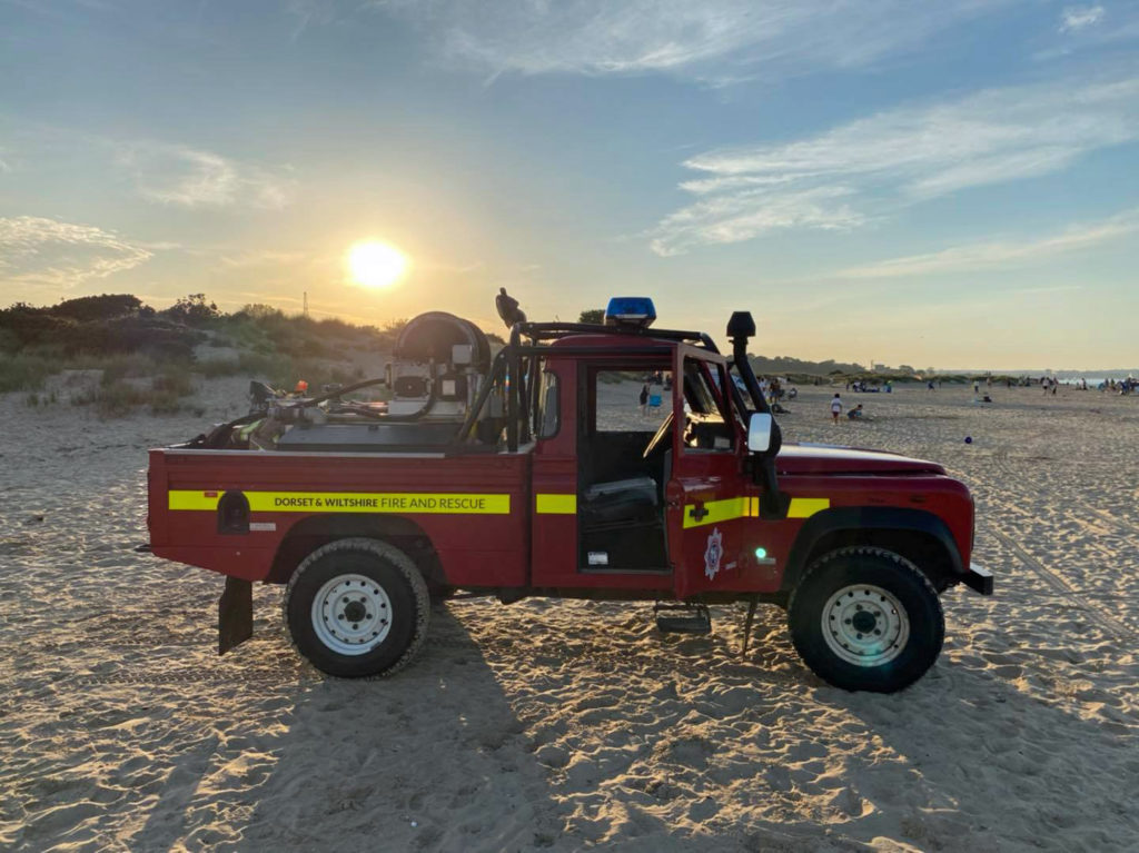 Fire truck at Studland