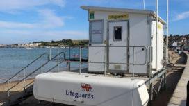 RNLI lifeguard hut on Swanage Beach