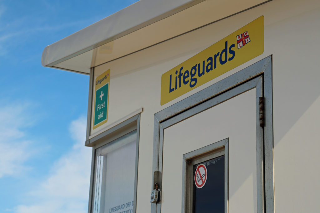 RNLI lifeguard hut on Swanage Beach