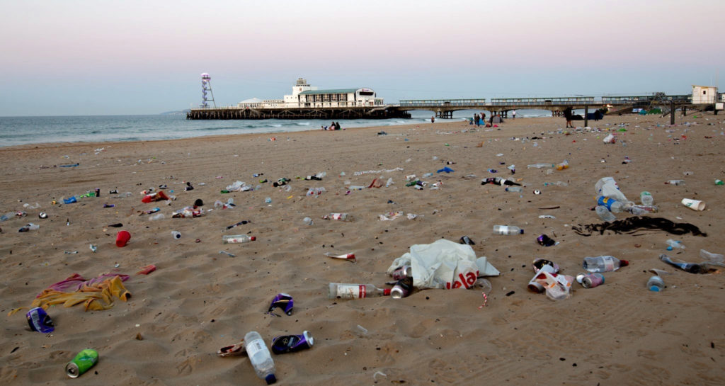 Rubbish on Bournemouth beach