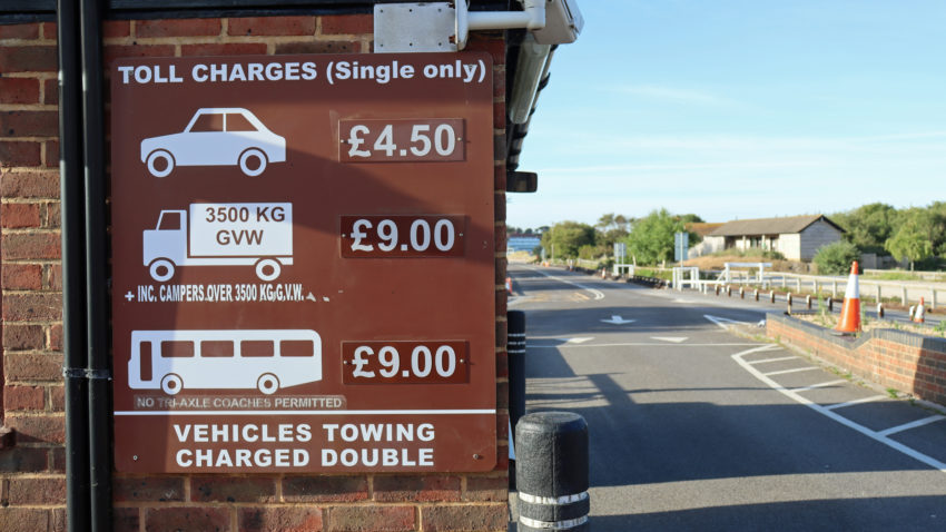 Sandbanks ferry toll charges sign