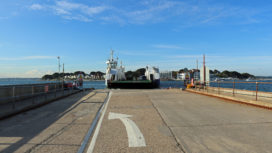 Sandbanks Ferry being prepared for a return to service