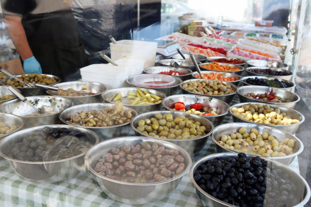 Olives for sale at Swanage Market